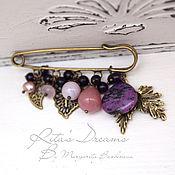 Украшения handmade. Livemaster - original item Brooch pin lilac color with Jasper quartz shell pearl amethyst leaves. Handmade.