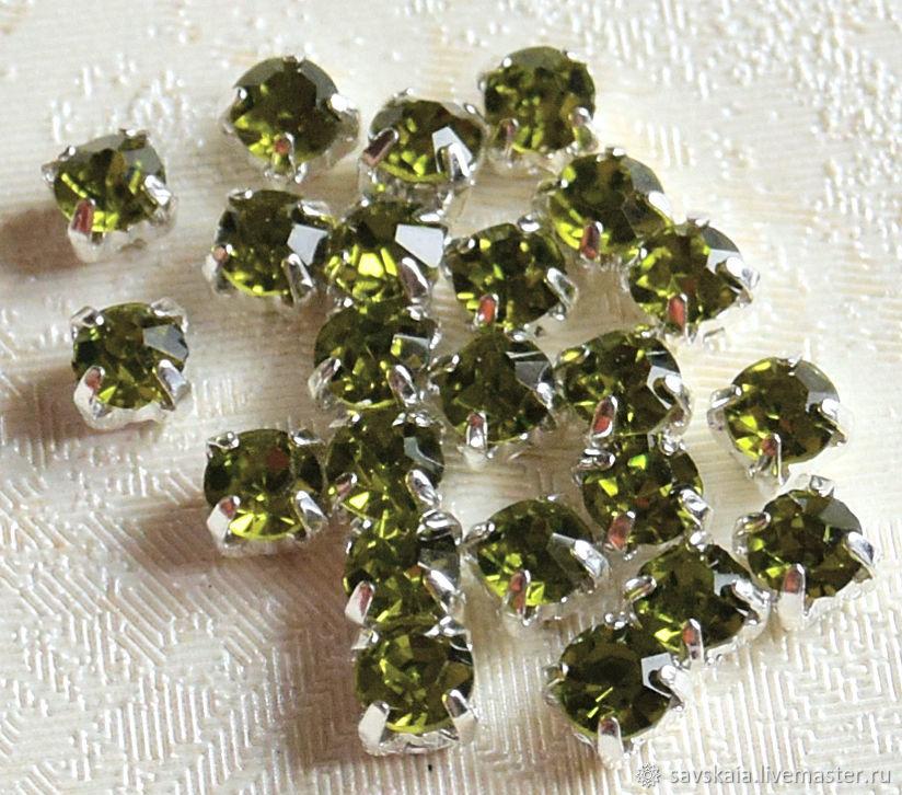 Стразы горный хрусталь цвет оливковый, SS16 - 4 мм