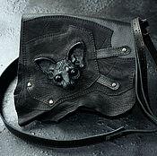 """Клатчи ручной работы. Ярмарка Мастеров - ручная работа Сумка кожаная - """"Кошка"""". Маленькая чёрная сумка . Клатч. Handmade."""
