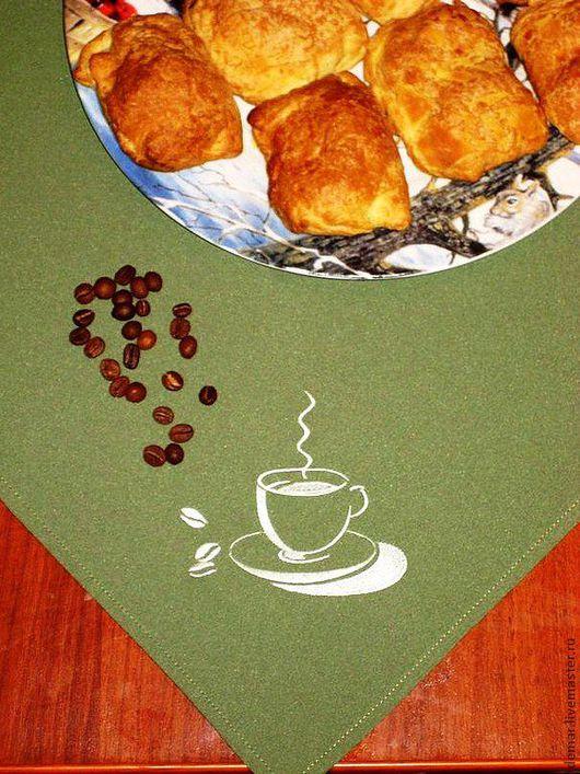 """Кухня ручной работы. Ярмарка Мастеров - ручная работа. Купить Салфетка """" Кофейные зерна"""". Handmade. Салфетка, с новым годом"""