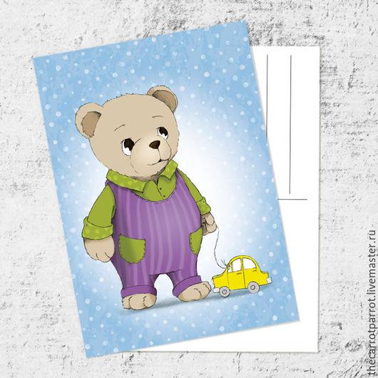 Открытки на все случаи жизни ручной работы. Ярмарка Мастеров - ручная работа. Купить Почтовая открытка «Мишка с машинкой». Handmade. Голубой