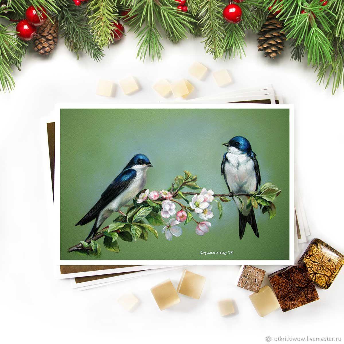 Открытка птицы Ласточки на цветущей ветке вишни, Открытки, Йошкар-Ола,  Фото №1