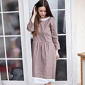 Одежда handmade. Livemaster - original item Alice linen dress in latte color (possible for nursing). Handmade.