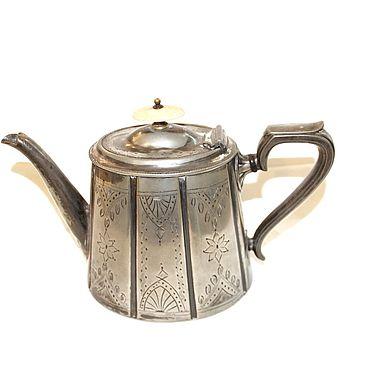 Посуда ручной работы. Ярмарка Мастеров - ручная работа Антикварный посеребрённый чайник. Handmade.