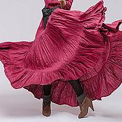 Одежда ручной работы. Ярмарка Мастеров - ручная работа Льняное бохо платье 4-14 брусничное. Handmade.