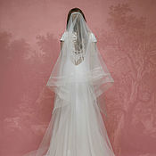 Свадебный салон ручной работы. Ярмарка Мастеров - ручная работа Фата и двойной окантовкой, длинная свадебная фата со шлейфом А-2. Handmade.