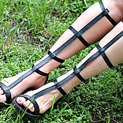 Обувь ручной работы handmade. Livemaster - original item NEW!  Roman Sandals leather Open zipper black. Handmade.