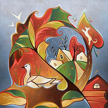 Картины и панно ручной работы. Ярмарка Мастеров - ручная работа Картина маслом. Листопад. Handmade.