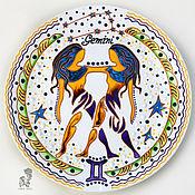 Картины и панно handmade. Livemaster - original item Zodiac sign Gemini-decorative plate-gift to Twins. Handmade.