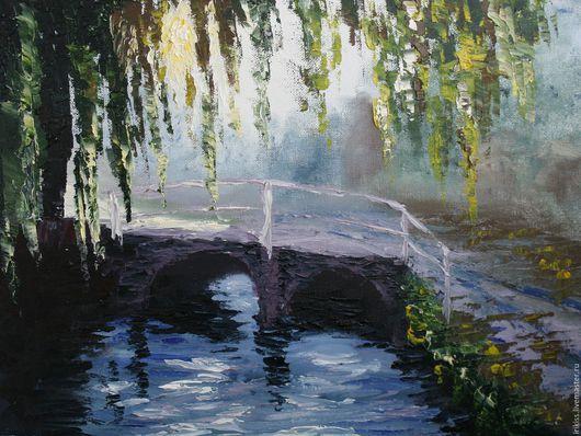"""Пейзаж ручной работы. Ярмарка Мастеров - ручная работа. Купить Картина """"В парке"""". Handmade. Комбинированный, картина в подарок, мостик"""