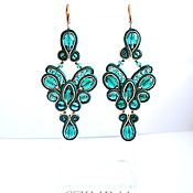 Украшения handmade. Livemaster - original item Soutache earrings Emerald butterfly. Handmade.