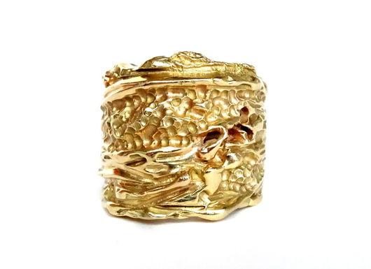Кольца ручной работы. Ярмарка Мастеров - ручная работа. Купить Золотое фактурное кольцо. Handmade. Золотой, ювелирное изделие