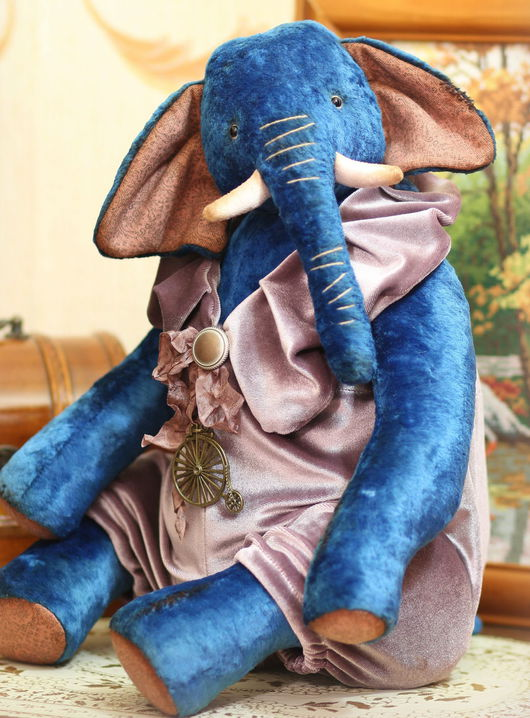 Мишки Тедди ручной работы. Ярмарка Мастеров - ручная работа. Купить Тедди слон Биг  44 см. Handmade. Васильковый