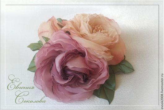 Свадебные украшения ручной работы. Ярмарка Мастеров - ручная работа. Купить Ободок и брошь Пудровые розы. Handmade. Кремовый