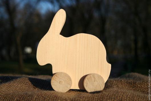 Заяц(Кролик)(А) большой-каталка деревянная игрушка ручной работы