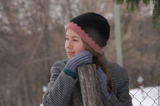 Шапки ручной работы. Ярмарка Мастеров - ручная работа. Купить Шерстяная шапка связанная спицами. Handmade. Комбинированный, вязание на заказ