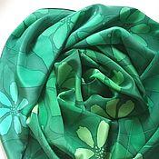 Шарф Изумрудные цветы зеленый шелковый