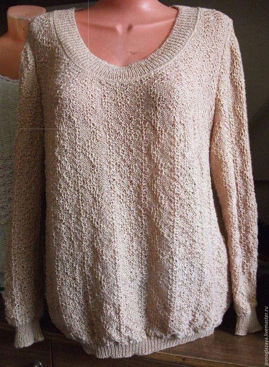 Кофты и свитера ручной работы. Ярмарка Мастеров - ручная работа. Купить Джемпер женский машинной вязки. Handmade. Бежевый