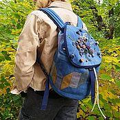 Сумки и аксессуары handmade. Livemaster - original item Denim Leaf fall backpack. Handmade.