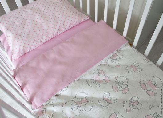 Детская ручной работы. Ярмарка Мастеров - ручная работа. Купить Комплект в кроватку. Handmade. Бледно-розовый, комплект в кроватку
