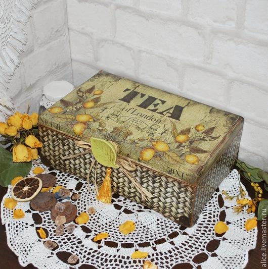"""Корзины, коробы ручной работы. Ярмарка Мастеров - ручная работа. Купить """"БЕРГАМОТ"""" короб для чая. Handmade. Лимонный, чайная коробка"""