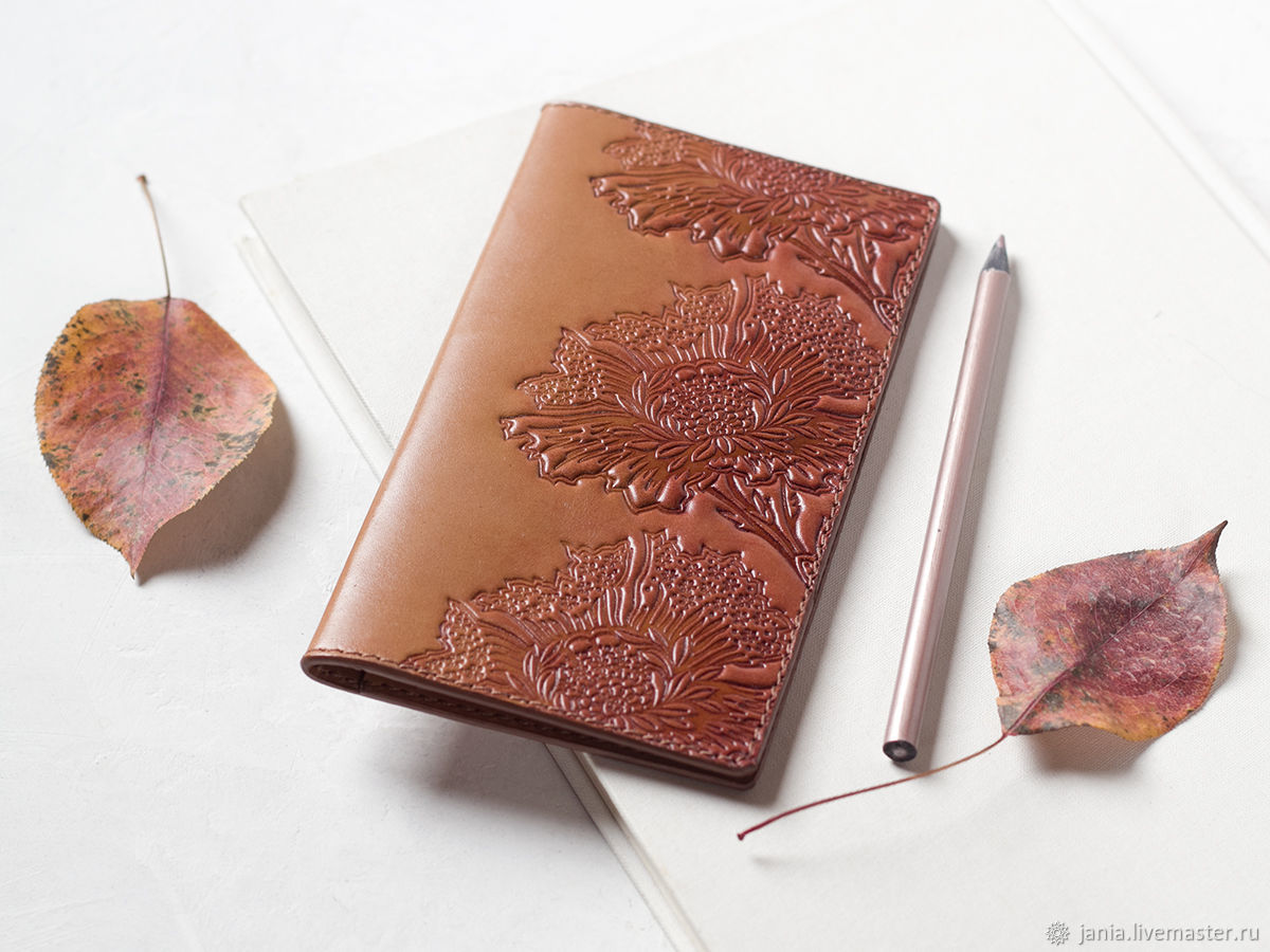 Leather Checkbook Cover - Reddish Brown Long Wallet, Wallets, Ivanovo,  Фото №1