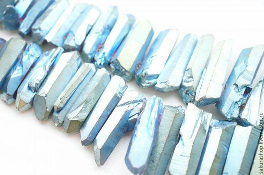 Для украшений ручной работы. Ярмарка Мастеров - ручная работа. Купить Кварц кристалл тонированный синий бензин 21х7 мм. Handmade.