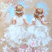 Картины и панно handmade. Livemaster - original item Two spring - painting with pastels. Handmade.