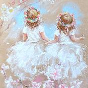 Картины и панно ручной работы. Ярмарка Мастеров - ручная работа Две весны - картина пастелью. Handmade.