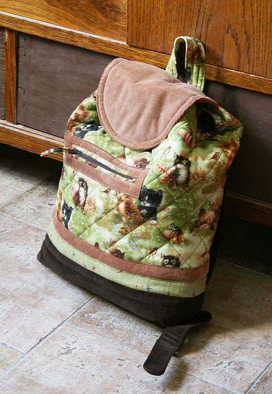 Рюкзаки ручной работы. Ярмарка Мастеров - ручная работа. Купить Кото-рюкзак. Handmade. Женский рюкзак, синтепон