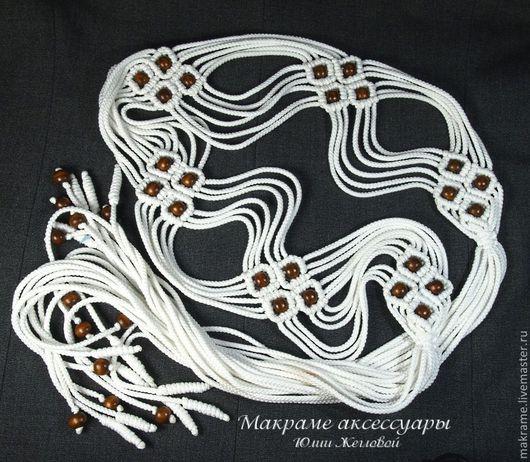Пояса, ремни ручной работы. Ярмарка Мастеров - ручная работа. Купить Белый плетеный пояс с кистями, макраме. Handmade. Орнамент