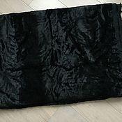 Материалы для творчества ручной работы. Ярмарка Мастеров - ручная работа Винтажный черный плюшевый бархат отрез  5 м на хлопоковой основе. Handmade.