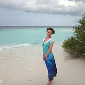 """Одежда ручной работы. Ярмарка Мастеров - ручная работа Шелковое платье с ручной росписью """"Мальдивы"""" из натурального атласа. Handmade."""