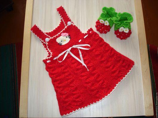 Одежда для девочек, ручной работы. Ярмарка Мастеров - ручная работа. Купить Сарафан Hello Kitty. Handmade. Ярко-красный