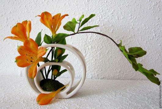 Интерьерные композиции ручной работы. Ярмарка Мастеров - ручная работа. Купить Есть у цветов особенная прелесть...... Handmade. Оранжевый