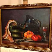 Картины и панно ручной работы. Ярмарка Мастеров - ручная работа Натюрморт с кувшином и томатами. Handmade.