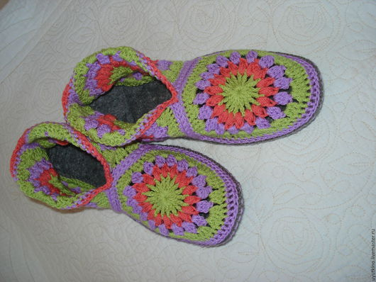 Обувь ручной работы. Ярмарка Мастеров - ручная работа. Купить Вязаные домашние сапожки. Handmade. Сиреневый, сапожки женские, микрофибра