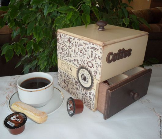 """Кухня ручной работы. Ярмарка Мастеров - ручная работа. Купить Короб  """"КОФЕ"""". Handmade. Бежевый, коричневый цвет"""