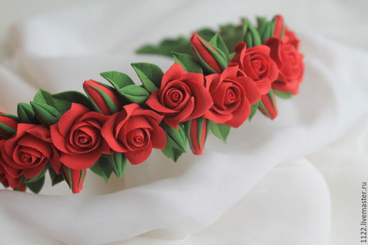 Диадемы, обручи ручной работы. Ярмарка Мастеров - ручная работа. Купить Ободок из красных роз. Handmade. Ярко-красный