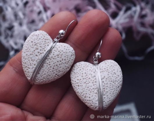 Earrings made of snow-white volcanic lava, Earrings, Samara,  Фото №1