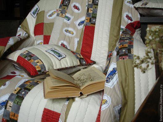 """Текстиль, ковры ручной работы. Ярмарка Мастеров - ручная работа. Купить """"Автомобили"""" лоскутный комплект. Handmade. Ретро, дача, хлопок"""