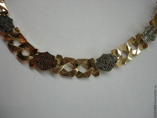 Украшения для мужчин, ручной работы. Ярмарка Мастеров - ручная работа. Купить Браслет мужской Харлей-Девидсон эмаль, золото. Handmade.