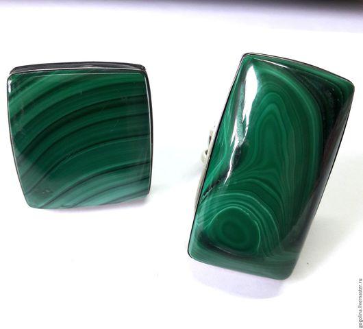 Кольца ручной работы. Ярмарка Мастеров - ручная работа. Купить Кольцо Прямоугольник малахит 2 варианта. Handmade. Зеленый