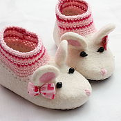 Работы для детей, ручной работы. Ярмарка Мастеров - ручная работа Валяные тапочки-мышки N163. Handmade.