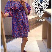 Одежда handmade. Livemaster - original item Cotton dress with POM-poms, bright sundress. Handmade.