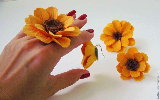 """Кольца ручной работы. Ярмарка Мастеров - ручная работа. Купить Комплект """"Солнышко в руке"""". Handmade. Крупное кольцо, авторские серьги"""
