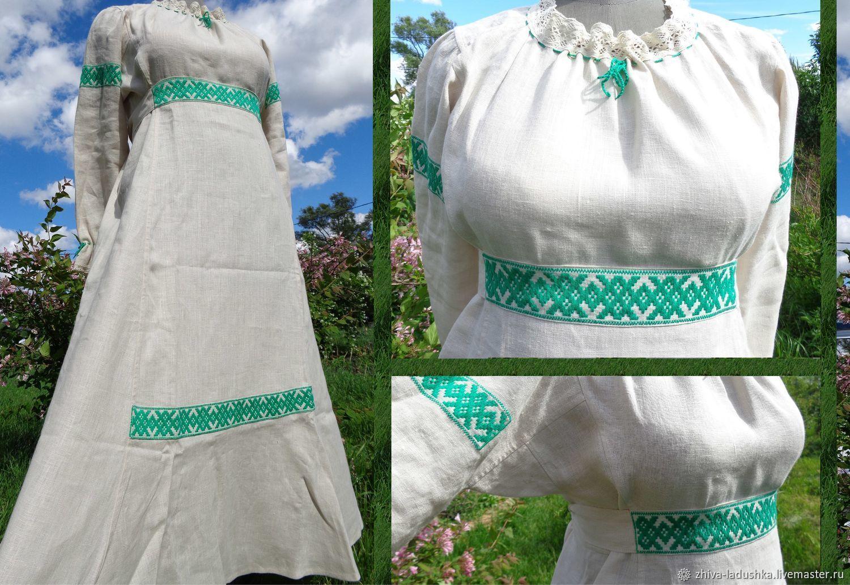 Платья ручной работы. Ярмарка Мастеров - ручная работа. Купить Платье льняное с ручной вышивкой. Handmade. Оберег, платье, славянский