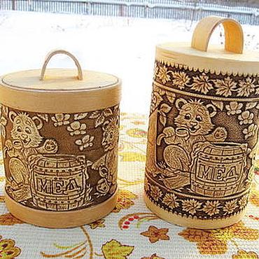 """Для дома и интерьера ручной работы. Ярмарка Мастеров - ручная работа Туес для мёда """"Мишки с медком"""". Handmade."""