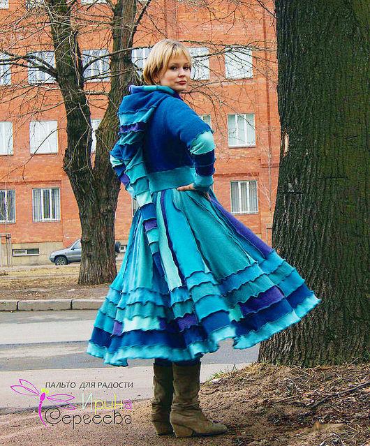 """Верхняя одежда ручной работы. Ярмарка Мастеров - ручная работа. Купить Лоскутное пальто """"Полет стрекозы"""". Handmade. Стрекоза, голубой"""