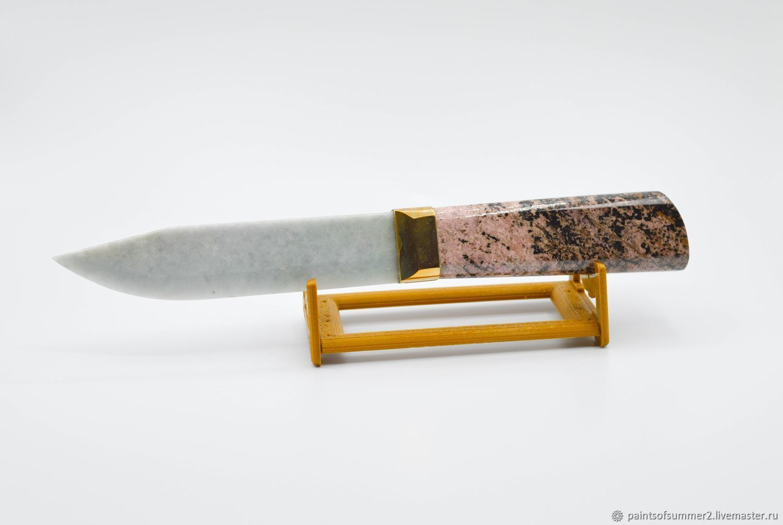 Нож из натурального камня (Родонит/Жадеит), Ножи, Москва,  Фото №1
